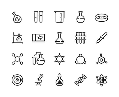 Laboratory line icons. Chemical and medical science experiment pictograms, flask tube and beaker. Vector school laboratory equipment icon set with microscope and pipette symbol Stock Illustratie