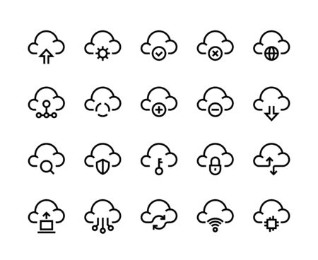 Cloud computing line icons. Network data transfer download sync and upload, internet platform. Vector cloud technology set like service element computer archiving and connected symbols Illustration