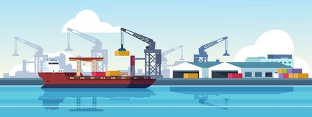 Marine port. Shipping transportation and ocean logistic flat banner, cargo ships and freight vessels. Vector illustration loading by crane maritime freight transportation container in dock Banque d'images - 133184036