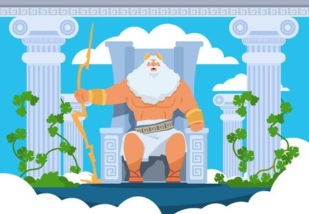 Cartoon Zeus. Legendary god character of Ancient Greek mythology on Olympus mountain. Vector mythology illustration Zeus with thunder and lightning in clouds on mount. Pantheon of gods
