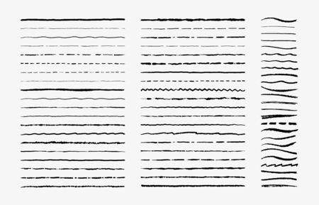 Hand drawn doodle brush lines. Vintage hand drawn underline border elements, pencil sketch stroke decoration. Vector illustrations monochrome pen marker scribble vintages ornament