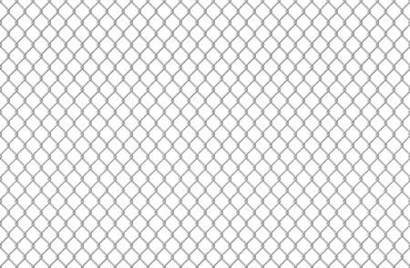 Wire fence pattern. Seamless steel texture background, realistic chainlink safe fence isolated on white. Vector illustration wire mesh steel grid. Metal construction prison, mesh like security concept Illustration