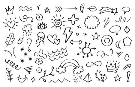 Doodle elements. Arrows flowers leaves and stars decorative elements for invitation and greeting cards. Vector illustration abstract sketch decoration set. Graphic outline printing sign