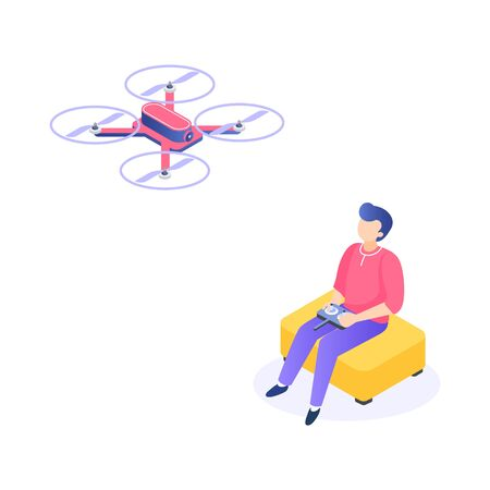 Isometric man with drone. Young men characters with remote aerial quadcopter. Vector isometric quadrocopter illustration for transporting and delivery correspondence, as well photos