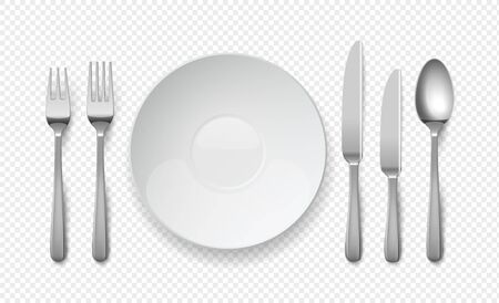 Realistic food plate with spoon, knife and fork. White empty dishes for cafe and restaurants. Cutlery vector top view illustration on transparent background Çizim