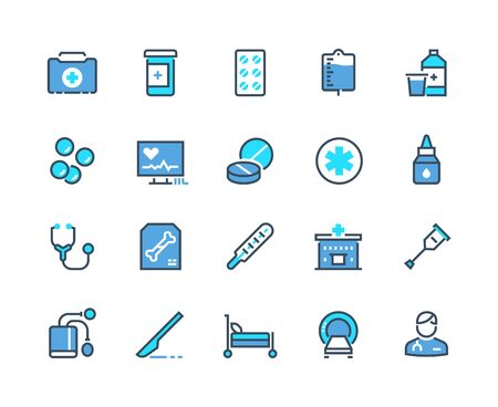 Medical line icons. Pharmacy prescription and medicine drugs symbols, hospital cares doctor cares and treatment outline icons. Vector set clinic care icon patient after an emergency