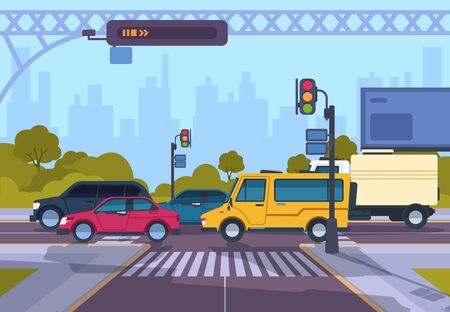 Via della città. Paesaggio urbano della città dei cartoni animati con auto e strisce pedonali, traffico cittadino su strisce pedonali. Illustrazione di paesaggio di autostrada urbana di vettore. Immagine panoramica piana orizzontale che attraversa le strade mattina