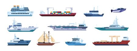 Flat boats. Ocean sailboats ships yacht and catamarans, isolated marine transport. Vector sailing vessel and motor ships. Flat design icon travel sailboat or cruise boat and battleship at sea