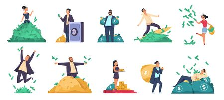 Rich people. Flat happy characters throwing and swimming in money, lying on a bed of money. Vector image isolated careless young cartoon people. Riches girl and guy with smile jumping and drags bag