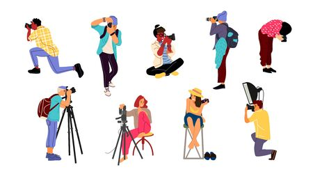 Photographers. Cartoon characters with professional cameras in different poses taking pictures. Vector isolated cute creativity cheerful female paparazzi and male journalists with bag 写真素材 - 134614216