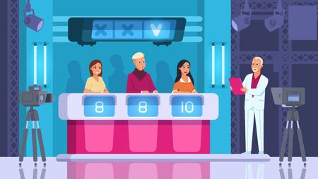TV contest. Cartoon word competition game with contestants, backstage and winner. Vector scene popular show with cameras and light. Guessing word and press button on podium Illustration