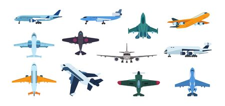 Flat airplanes. Plane flight take off and landing, commercial aviation aircraft, air travel and transportation. Vector isolated illustration set aircraft various brands of industrial military purposes