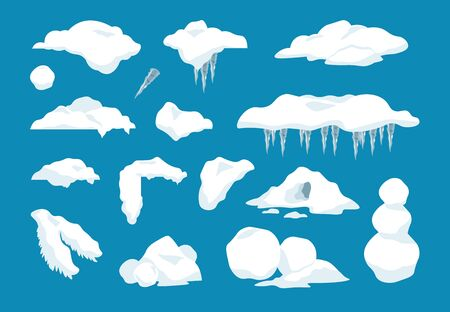 Cartoon snow caps. Frozen drips and transparent icicles with snowballs and snow drifts, winter decoration frame elements. Vector set illustrations frost snow pile with beautiful signs xmas