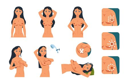 Breast exam. Young cartoon woman character doing breast examination. Vector illustration instruction of oncology tumor symptoms awareness for self checking