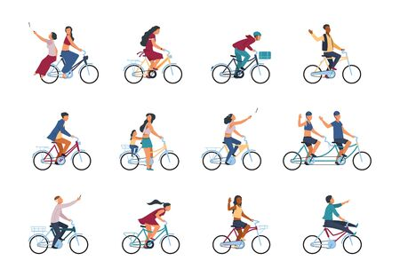 People on bike. Diverse active adults people characters riding on bicycle isolated on white background. Vector cartoon colour group of people with smartphone take photo Ilustrace