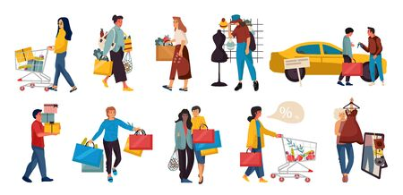 Shopping people. Trendy family and couples cartoon characters at mall shopping, happy cute persons at retail stores. Vector illustrations mall scenes woman and fashion couple with big bag set