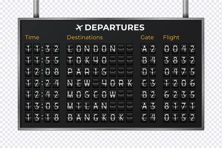 Airport mechanical scoreboard. Realistic equipment board message departures and arrivals flight. Flipping departure countdown. Vector illustration 3d schedule arriving train for travel