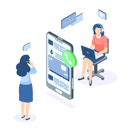 Customer support isometric concept. Call center help web banner. Online service help assistance. Vector illustration supporting chat with client and provides client action guidance