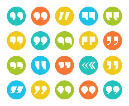 Quotes marks. Flat quotation marking speech icon set. Double comma signs in circle. Remark button isolated image vector set for modern discussion and communication quote