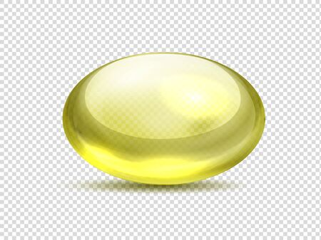 Realistic yellow capsule pills. Oil medicine vitamin, golden bubble with collagen gel. Vector illustration organic vitamin A, E, D or fish oil Illustration