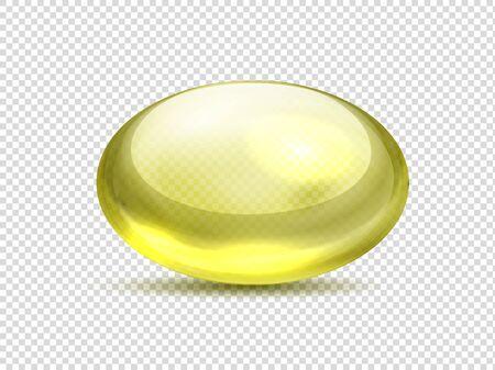 Realistic yellow capsule pills. Oil medicine vitamin, golden bubble with collagen gel. Vector illustration organic vitamin A, E, D or fish oil Illustration