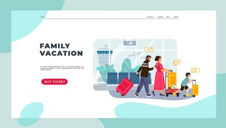Tourists landing page. Family on vacation with kids and luggage, man and women happy characters going on journey. Vector image holidays traveling web page to traveler services provide