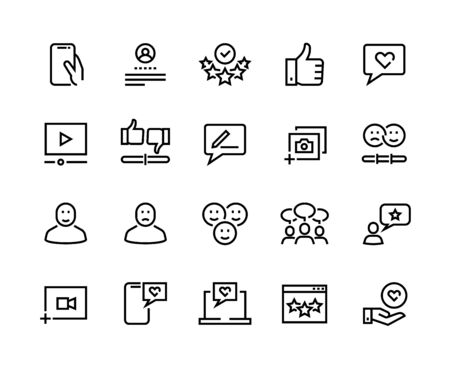Feedback line icons. Customer review and questionnaire list outline pictograms. Vector user experience and opinion test set. Communication services testing consumer emotions