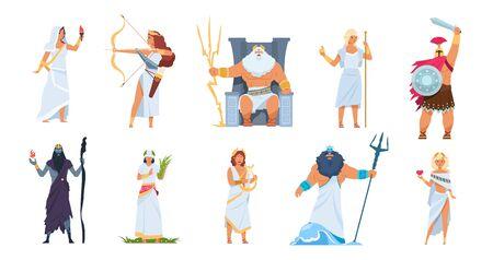 Dioses griegos antiguos. Dibujos animados lindos personajes legendarios de la mitología antigua. Héroes masculinos y femeninos de vector montaña Olimpo aislado en conjunto blanco