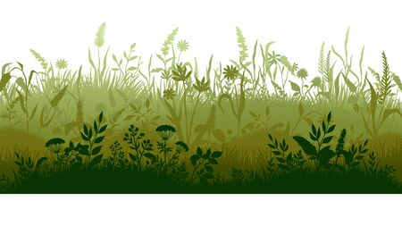 Grass silhouette. Marsh and swamp plains with weed and plants, cartoon wavy meadow. Vector grassland landscape field with growing herbs for green lawn or label organic clean pasture