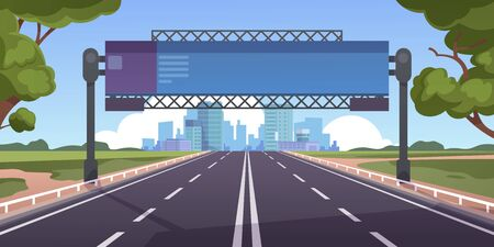 Cartoon highway. Empty road with city skyline on horizon and nature landscape, highway view. Vector scene with road to city with information board, illustration asphalt road without people and cars Иллюстрация