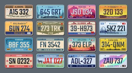 Car plates. American registration numbers of different states, vehicles license plates. Vector isolated illustration colored signs set on gray background Ilustracja