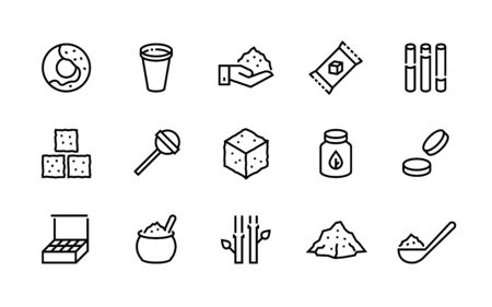 Sugar line icon. Candies and coffee sweeteners, sugar in cubes bags and packages, cane and stevia organic sugar symbols. Vector shapes image pictograms sugaring products set