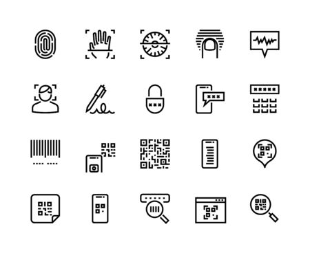 Identification line icons. Biometric sensor, face recognition and fingerprint scanner icons. Vector sign and symbol authentication and access set for different coding systems Ilustración de vector