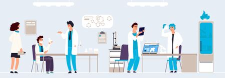Scientific research. Cartoon people in lab doing analysis and experiment, hand drawn lab interior and equipment. Vector background isometric doctor in white coats working on professionals equipment Illustration