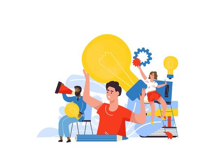 Business idea concept. Cartoon characters at business meeting, brainstorm for new solutions. Vector illustrations template teamwork brainstorming creative ideas how to startup company Zdjęcie Seryjne - 134559646
