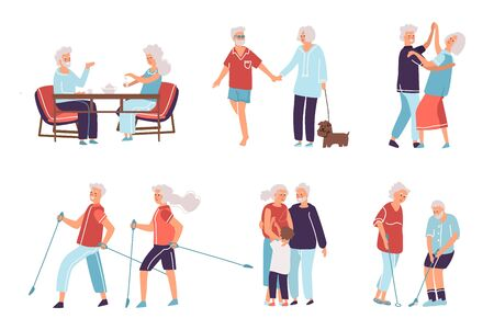 Old people. Cartoon hand drawn elderly persons and couples, grandparents in different activities. Flat style vector happy senior age people, male and female exercise in older age