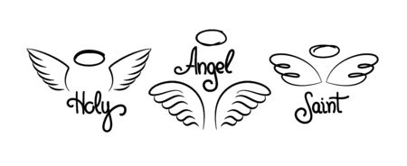 Doodle wings logo. Pair of hand drawn angel wings with decorative text and halo, heavenly religious line emblems. Vector set illustration doodles divine holy symbol on white background 向量圖像