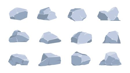 Cartoon rocks. Coal and gray stone, flat isometric 3D boulders and cliff of various shapes. Vector image graphic geometric polygonal concrete gravel set for game illustration