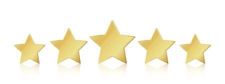 Cinq étoiles d'or. Symbole de leadership réaliste 5 étoiles. Classement de champion gagnant métallique jaune brillant. Illustration vectorielle étoiles restaurant ou service de qualité de satisfaction des hôtels