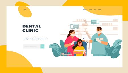 Dentist landing page. Patient examination at doctor office concept, tooth care and and dentist checkup. Vector digital stomatology web page for consulting and diagnostic patients dental staff