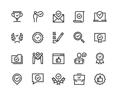 Approuver les icônes de ligne. Approbation de paiement garantie de qualité et symboles de contour du certificat de vérification. Ensemble de marques approuvées par contrôle vectoriel pour garantir la conformité et la conformité des contrôles