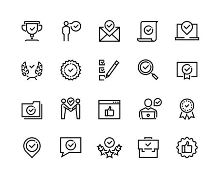 Approve line icons. Quality guaranteed payment approval and verification certificate outline symbols. Vector check approved mark set for guaranteed control compliance and compliance Çizim