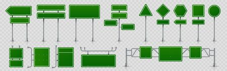 Highway signs. Green pointers on the road, traffic control signs and road direction signboards. Vector illustration information empty roadside signs set on transparent background