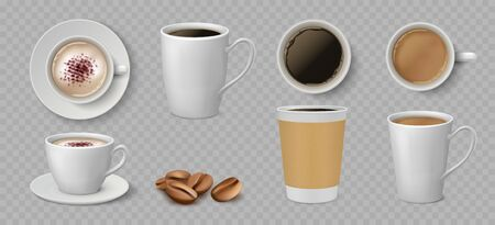 Realistic coffee cups. White ceramic and paper mugs with espresso latte and cappuccino. Vector 3D isolated coffee set, cup for drinking view on top
