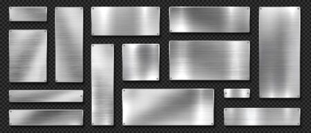 Metal banners. Realistic stainless steel boards with scratched grunge texture and silver shine. Vector metal signs and plates set, riveted image plaque or alloy plating on black transparent background Vectores