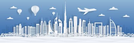 Dubai paper cut. UAE skyline city panorama with famous landmarks for postcards and poster. Vector Dubai cityscape - illustration arabic art architecture landmarks and travel memory