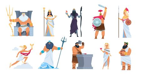 Greek gods. Cartoon ancient mythology characters, vector Zeus Ares a Poseidon gods and goddess isolated on white background. Cartoon image history character Greek culture collection Vettoriali