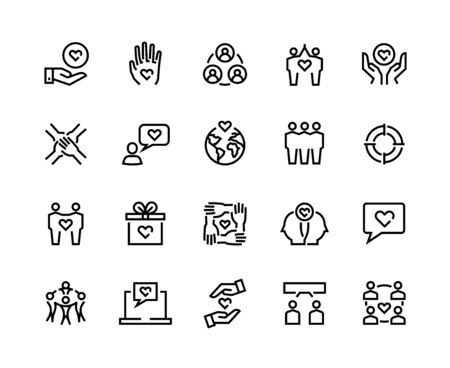 Friendship line icons. Charity and partnership, business assistance and communication concept. Vector community relationship friends flat icon for social cooperating app communities