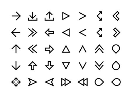 Arrows line icons. Direction signs for web page and application UI, simple modern arrows and app cursor. Vector editable outline arrow set for computer pointer symbol