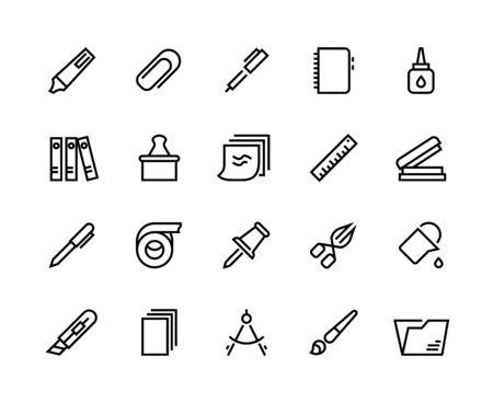 Icônes de ligne de papeterie. Fournitures scolaires et de bureau avec colle et autocollants pour dossier stylo crayon ciseaux. Ensemble de ruban adhésif et de règle en papier vectoriel, autocollants, gomme, clips, brosse, cahier Vecteurs
